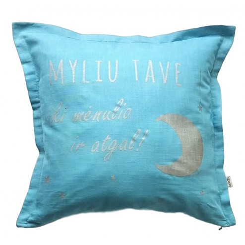 Interior pillow with print MYLIU TAVE, creamy
