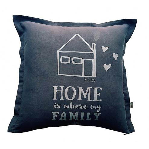 Interior pillow with print MYLIU TAVE, creamy