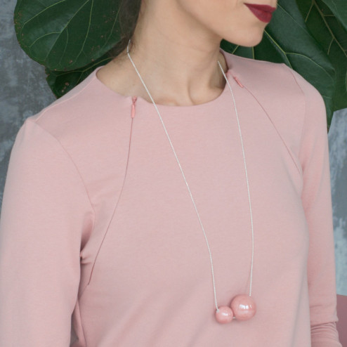 Female stylish elegant ceramic pendant on a luxurious chain MAGIC pale rose