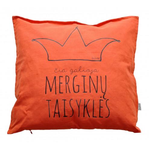 Interior pillow with print ČIA GALIOJA MERGINŲ TAISYKLĖS, orange