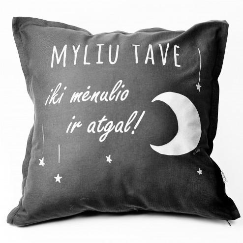 Interior pillow with print MYLIU TAVE, dark grey