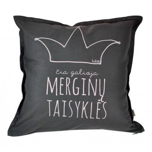 Interior pillow with print ČIA GALIOJA MERGINŲ TAISYKLĖS, dark grey