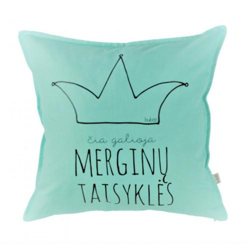 Interior pillow with print ČIA GALIOJA MERGINŲ TAISYKLĖS, mint