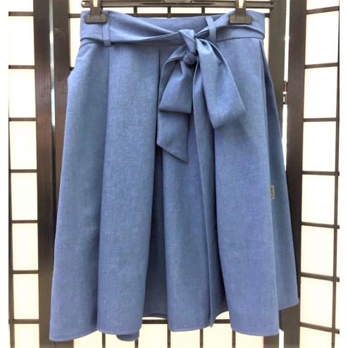 Impressive female linen/viscose green skirt TAHO