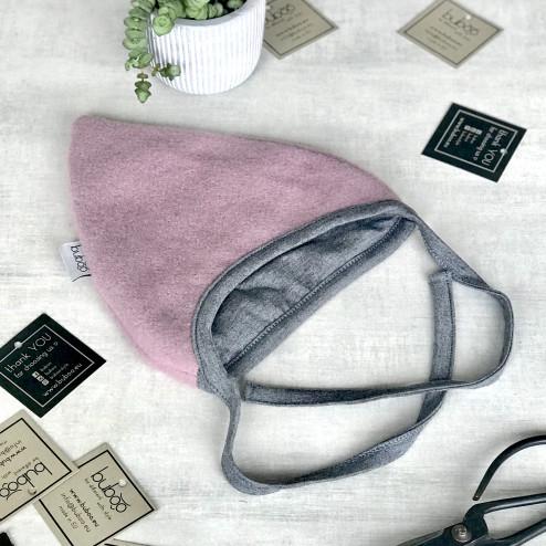 Vaikiška moheros vilnos kepurė su raišteliais rudeniui/žiemai DROP pelenų rožė/ vidus šviesiai pilkas