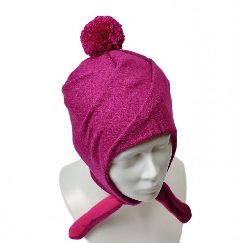 POMPOM winter double layered wool beanie corn flower