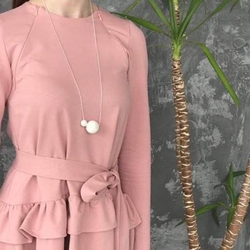 Female stylish elegant ceramic pendant on a luxurious chain MAGIC pale rose