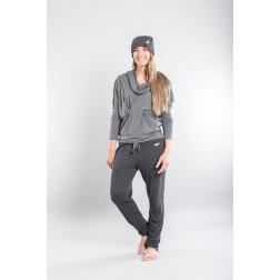 Moteriškos pilkos kilpinės laisvalaikio kelnės PARIS storesnės
