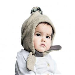 POMPOM dviguba žieminė vilnonė kepurė smėlis
