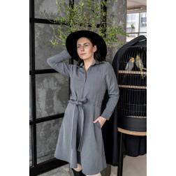 Įspūdinga moteriška suknelė MILANAS su dirželiu ir juostele, pilka