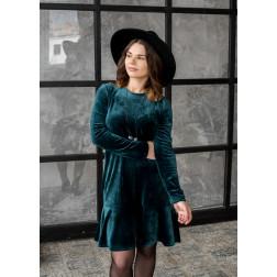 Moteriška prabangi suknelė ROMA smaragdas aksominė