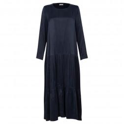 Moteriška prabangi suknelė WOW mėlyna cupra audinio maxi