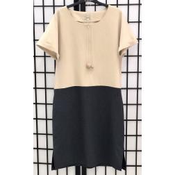 Moteriška patogi ir stilinga lino/viskozės suknelė DUAL smėlinė/tamsiai pilka trumpom rankovėm
