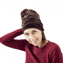 SCREW POMPOM dviguba veliūrinė kepurė moca su kailio bumbulu