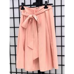 Įspūdingas moteriškas lino/viskozės sijonas TAHO rožinis su taškiukais