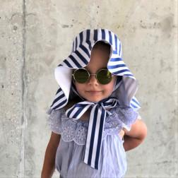 Įspūdinga vaikiška dvipusė medvilnės ir lino/viskozės skrybėlė HAT su kaspinais Dryžuota