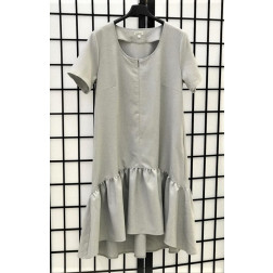 Įspūdinga lino/viskozės moteriška suknelė su dirželiu LISABONA Pilka