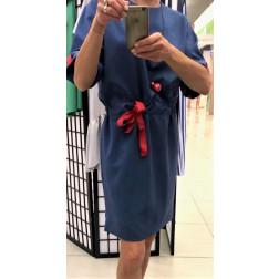 Įspūdinga lino/viskozės moteriška suknelė su dirželiu MANILA Džinsas