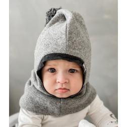 Stilingas patogus HELMET rudeninis žieminis egipto vilnelės vaikiškas šalmukas su bumbulu Šviesiai pilkas