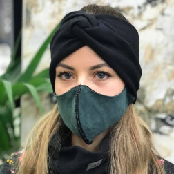 Prabangi ir puošni moteriška veido kaukė, Žalia