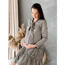 Moteriška suknelė ilgomis rankovėmis su užrišamu kaspinu WOW, pilkas leopardas