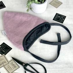 Vaikiška moheros vilnos kepurė su raišteliais rudeniui/žiemai DROP pelenų rožė / vidus tamsiai pilkas