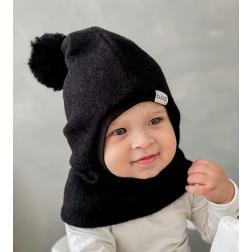 Stilingas patogus HELMET rudeninis žieminis moheros vilnos vaikiškas šalmukas su bumbulu Juodas