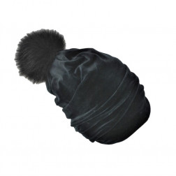 SCREW POMPOM dviguba veliūrinė kepurė anglis su kailio bumbulu, juoda