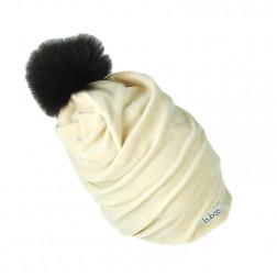 SCREW POMPOM dviguba veliūrinė kepurė pienas su tamsiu kailio bumbulu