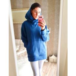 Stilingas moteriškas džemperis su pūkeliu, mėlynas