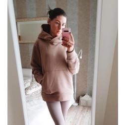 Stilingas moteriškas džemperis su pūkeliu, latte