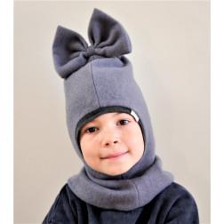 Stilingas patogus rudeninis žieminis moheros vilnos vaikiškas šalmukas FASHIONISTA pilkas