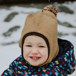 Stilingas patogus HELMET rudeninis žieminis alpakos vilnos šalmukas Smėlis su bumbulu