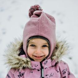 Stilingas patogus HELMET rudeninis žieminis moheros vilnos vaikiškas šalmukas su bumbulu Pelenų Rožė