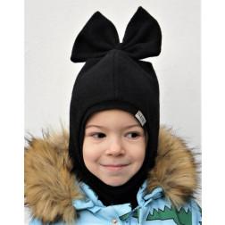 Stilingas patogus rudeninis žieminis moheros vilnos vaikiškas šalmukas FASHIONISTA Juoda