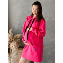 Laisvalaikio suknelė / tunika su paslėptais užtrauktukais priekyje BUBOO active, ryškiai rožinės (arbūzo) spalvos