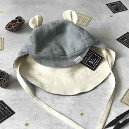 BEAR vasarinė vaikiška kepurė su snapeliu , raišteliais ir kaklo apsauga (minkštinto lino) pilka