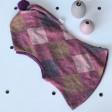 Stilinga patogi HELMET rudeninė žieminė vilnonė kepurė - šalmukas baklažanas Rombai
