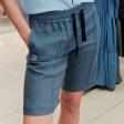 Moteriški stilingi minkštinto lino laisvalaikio šortai BUBOO active, džinsinė spalva