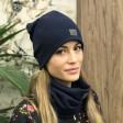 Moteriška kepurė rudeniui žiemai - Tamsiai mėlyna