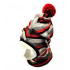 Stilinga patogi HELMET rudeninė žieminė vilnonė kepurė - šalmukas vyšnia