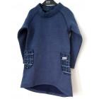 Šilta suknelė POCKET mėlynių su vilnonėmis kišenėmis