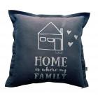 Interjero pagalvė HOME WHERE FAMILY IS, tamsiai pilka