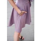 Įliemenuota lino/viskozės moteriška suknelė su dirželiu HAVANA pelenų rožė