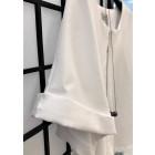 Stilinga moteriška lino/viskozės palaidinė TAHO trumpomis rankovėmis ir paslėptu užtrauktuku priekyje, balta