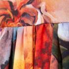 Moteriška prabangi suknelė WOW 3D gėlėta ruda midi