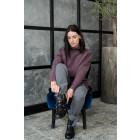 Stilingas moteriškas moheros megztinis, baklažanas
