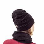 SCREWcz dviguba veliūrinė kepurė anglis juoda