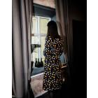 Įspūdinga ir stilinga marga LIMITED EDITION kapsulinės kolekcijos suknelė PARIS mėlyna/garstyčių