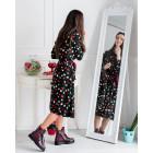 Įspūdinga ir stilinga marga LIMITED EDITION kapsulinės kolekcijos suknelė PARIS chaki/burgundiška